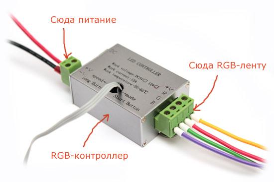 Обычная схема подключения RGB